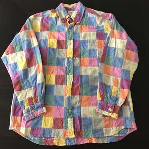 JCREW PATCHWORK BUTTON FRONT SHIRT SIZE SMALL